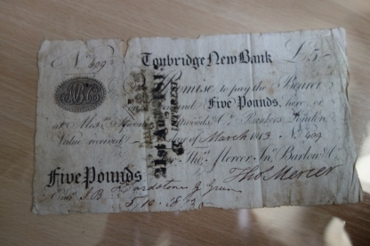 Five Pound Note, Tonbridge New Bank, 1814