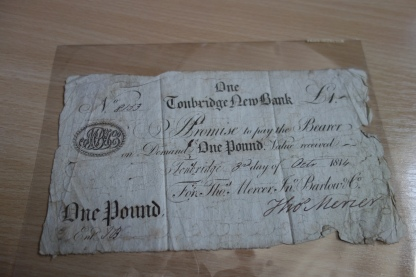 One Pound Note, Tonbridge Bank, 1814